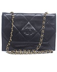 Chanel Pre-owned Vintage Black Lambskin Quilted Bag - Lyst