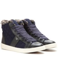Tory Burch Oliver Shearling Lined High Top Sneakers - Lyst