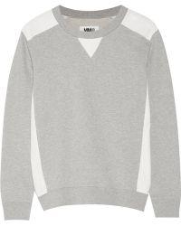 MM6 by Maison Martin Margiela - Leather-Paneled Cotton-Terry Sweatshirt - Lyst