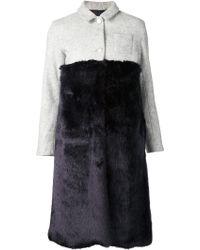 Arthur Arbesser Fur Panel Coat - Blue