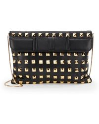 Saks Fifth Avenue Black Label - Studded Leather Flap Clutch - Lyst