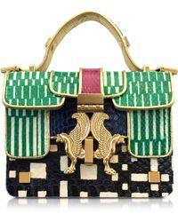 Giancarlo Petriglia - Optical Green Printed Elaphe Leather Mini P Bag - Lyst