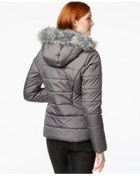 Krush Faux-fur-hood Puffer Jacket - Gray