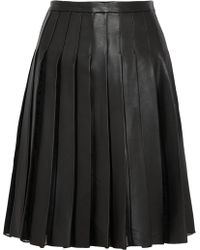 Adam Lippes Pleated Leather And Organza Skirt - Lyst