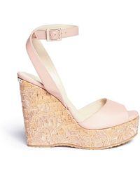 Jimmy Choo 'Patara' Cork Wedge Leather Sandals pink - Lyst