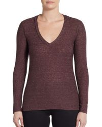 James Perse Long Sleeve V-Neck Top - Lyst