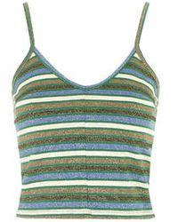 Topshop Metallic Stripe Cropped Cami multicolor - Lyst