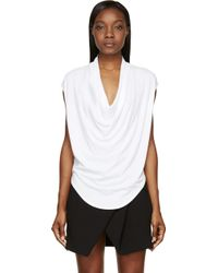 Helmut Lang White Cowl Kinetic Sleeveless T_Shirt - Lyst
