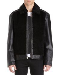 T By Alexander Wang - Shearling Moto Jacket - Lyst