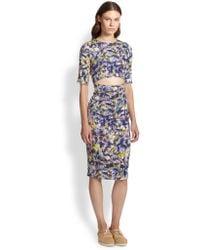 Suno Stretch Silk Cutout-Waist Dress - Lyst