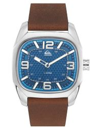 Quiksilver 'the Bruiser' Leather Strap Watch - Brown