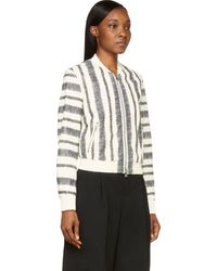 3.1 Phillip Lim White Sketched Stripe Leather Bomber Jacket - Lyst