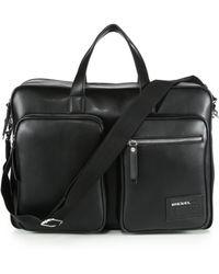 Diesel Leather Briefcase black - Lyst