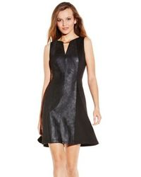 Vince Camuto Fit And Flare Neck Detail Dress - Lyst
