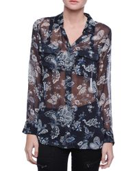 Equipment Slim Floral Printed Button Down Blouse - Lyst
