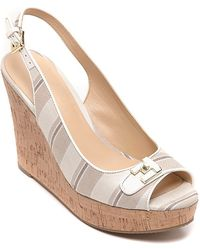 Tommy Hilfiger Canvas Peep Toe Wedge - Lyst