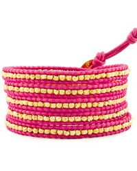Chan Luu - Gold Wrap Bracelet On Pink Leather - Lyst