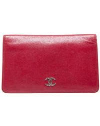Chanel Preowned Red Caviar Bi Fold Wallet - Lyst