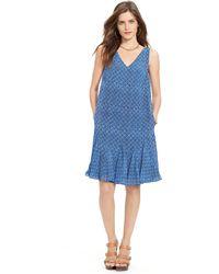 Ralph Lauren Ruffled Sleeveless Dress - Lyst