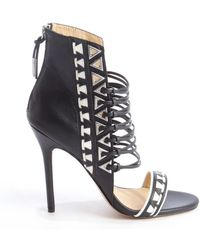 L.a.m.b. Black and White Strappy Leather Savanna Heel Sandals - Lyst