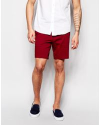 ASOS Skinny Fit Smart Shorts - Red