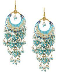 Chamak by Priya Kakkar Half-moon Chandelier Earrings - Blue