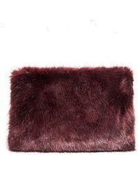 Pixie Market | Burgundy Faux Fur Clutch | Lyst