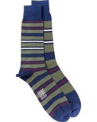Paul Smith Green Striped Socks - Lyst