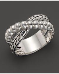 John Hardy Womens Bedeg Silver Slim Twist Crossover Ring - Lyst