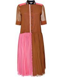 Bouchra Jarrar Pleated Color Block Georgette Dress pink - Lyst