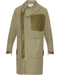 Loewe Leather-trimmed Cotton Trench Coat - Natural