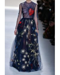 Valentino Embroidered Tulle Gown - Lyst