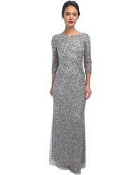 Adrianna Papell Long Sequin Dress W/ Cap Sleeves - Lyst