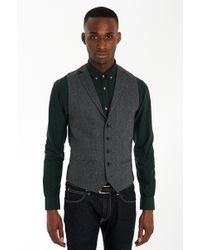 French Connection Slim Fit Grey Herringbone Waistcoat - Lyst