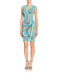 Hervé Léger Japanese-Print Knit Sheath - Lyst