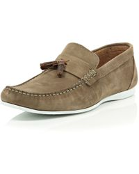 River Island Stone Tassel Rubber Sole Casual Loafers - Lyst