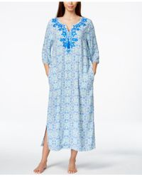 Charter Club Beaded Embroidered Geo-print Long Caftan, Only At Macy's - Blue