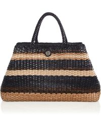 Tory Burch Robinson Striped Woven Leather Convertible Tote brown - Lyst