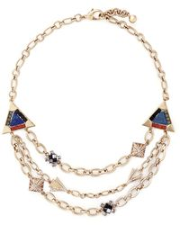 Lulu Frost 'Petra' Crystal Pavé Stone Mosaic Tier Necklace gold - Lyst