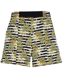 River Island Green Jacquard Leaf Print Boxy Shorts - Lyst