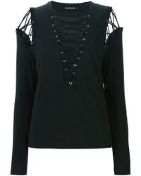 Filles A Papa T.shirt With Lacing Details At Front And Shoulders - Blue