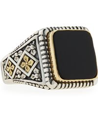Konstantino Onyx Square Ring Size 10 - Lyst