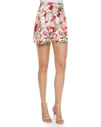 Carolina Herrera Floral Twill Shorts pink - Lyst
