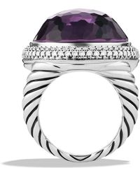 David Yurman Dy Signature Oval Ring with Black Orchid  Diamonds - Lyst