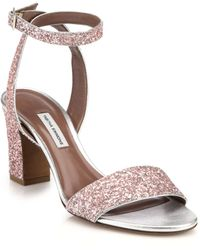 Tabitha Simmons Glittered Leather Sandals - Lyst