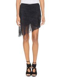 Haute Hippie Trapped Fringe Skirt Black - Lyst