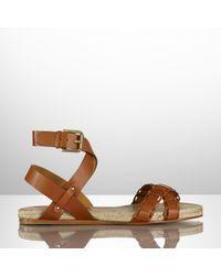 Ralph Lauren Collection Calfskin Maisie Sandal - Lyst
