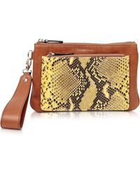 Francesco Biasia - Hampstead Brown Embossed Leather Clutch W/wristlet - Lyst