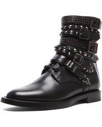 Saint Laurent Rangers Studded Leather Combat Boots - Lyst