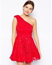 AX Paris One Shoulder Lace Dress - Lyst